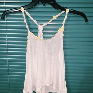 white tank top with flower on string
